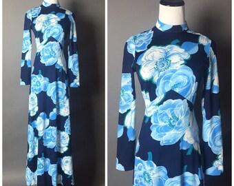 Vintage 70s dress / 1970s dress / floral dress  / Maxi dress / hippie dress  M5116