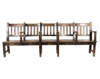 Antique Colonial Outdoor Theater Bench II, teak Bench, Reclaimed Wood Bench, long Bench, carved Bench, Rustic Bench, Indian bench, colonial