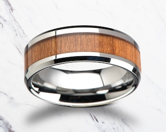 Beveled Real Cherry Wood Tungsten Wood Ring with Polished Edges - 6mm to 12mm Available - Lifetime Size Exchanges