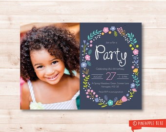 Photographic floral girls birthday party invitation | Girls invitation | Birthday party invite | Custom party invite | Kids printable invite