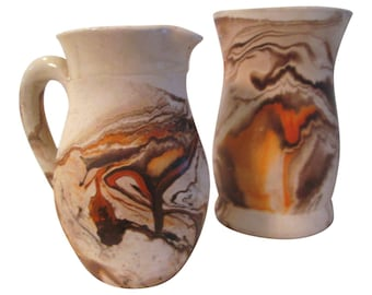 Nemadji Pottery Orange & Brown Swirl Vessels, Pair