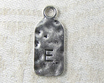 "Silver Tag Letter ""E"" Charms, 1 or 5 letters per package  ALF019e"