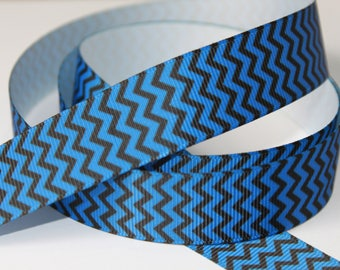 "7/8"" inch Black and Blue CHEVRON - Pattern -  Printed Grosgrain Ribbon for Hair Bow TheFabFind"