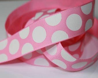 "7/8"" inch White Big Large Polka Dots on Light Pink  Printed Grosgrain Ribbon for Hair Bow TheFabFind"