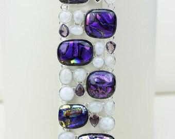 Dichoric Glass Amethyst 925 S0LID Sterling Silver Bracelet B2581