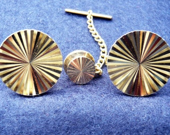 1960s Vintage Cufflinks and Tie Pin/Tack Set