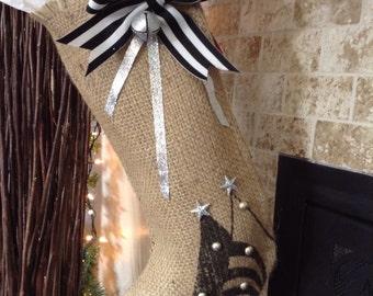 Burlap Christmas Stocking/ Black Tree