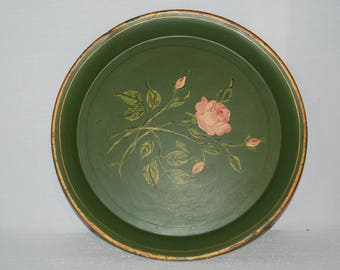 Gorgeous French vintage tole tray beautiful green colour, hand painted pink roses  centre, some crackling, pretty worn effect.