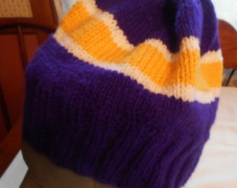 Slouchy Hat VIKINGs NFL Team or SCHOOL Colors  Handmade  Acrylic Yarn One Size Fits All