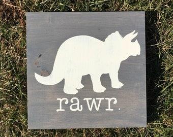 Rawr sign   dinosaur sign   wooden sign   wall art   boys room decor   dinosaur decor   kids room   children   dinosaur themed room  