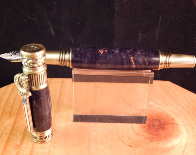 American Patriot Fountain Pen with Black and Gray Dyed Maple #FP10224