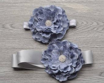 Gray Floral Sash Set, Heaband Set, Maternity Sash, Bridal sash, Photo prop