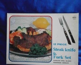 Ross 12 Piece Steak Knife & Fork Set Boxed