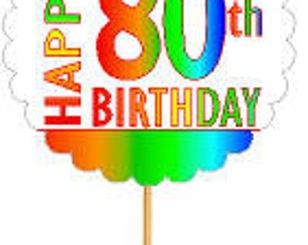 Happy 80th Birthday Rainbow Cupcake Decoration Topper Picks -12pk