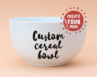 Custom cereal bowl, white ceramic bowl - hand decorated! Large cereal bowl.