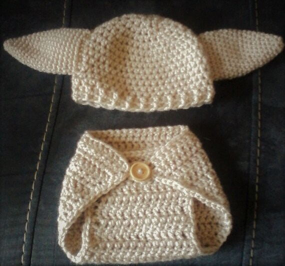 Handmade Crochet Harry Potters Dobby Diaper Cover and Hat