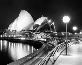 Sydney Opera House - Australia - Landscape - Black & White - Digital Download