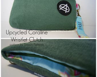 Coraline Wristlet Clutch with Detachable Wrist Strap/Handmade in Australia/Upcycled Knitwear/Anarchy/Punk/Vintage Inspired/Floral/Retro.