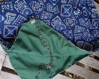 Blue Paisley and Green Hood
