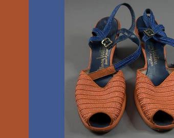 Vintage 1940's Sandals, 50's Vintage Sandals, Vintage Two Tone Sandals,
