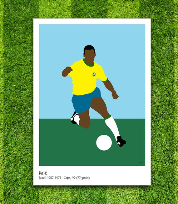 Pelé // Brazil // Football // Soccer // Minimalist Poster // Unique A4 / A3 Art Print