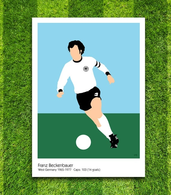 Franz Beckenbauer // West Germany // Football // Soccer // Minimalist Poster // Unique A4 / A3 Art Print