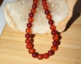 """16"""" Strand of 6mm Smooth Round Matte Carnelian Beads #15"""