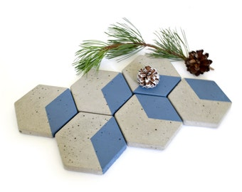 Hexagon Concrete Coasters Home Decor Modern Simple