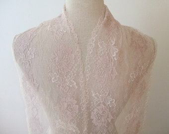 """4 yards Beige- light pink  french lace trim by the yard (N88)/ 7"""" wide stretch lace trim"""