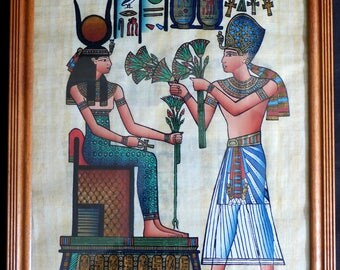 Egyptian Painting in old wooden frame