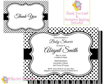 Black and White Polka Dot Baby Shower Invitation, Baby Girl Invitation, Baby Boy Invitation, Its a Boy, Its a Girl, Gender Neutral