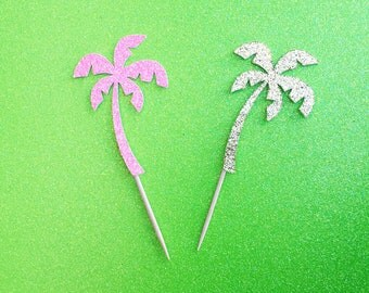 Palm Tree Cupcake Toppers (12 picks)-ANY Glitter Color