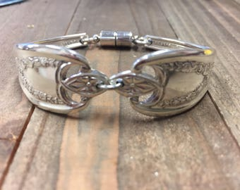Spoon Bracelet | Old Colony | 1911| Spoon Jewelry| Silverware Bracelet| Silverware Jewelry| Old Colony bracelet| magnetic clasp, vintage