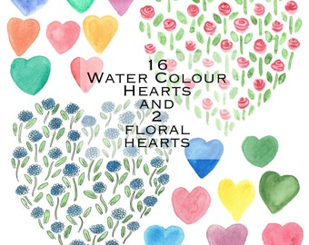 Hand Painted Watercolour Hearts