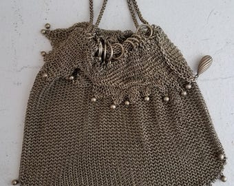 Vintage Metal Mesh Pouch Evening Wrist Purse