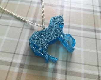 Blue Glitter Unicorn Necklace. Handmade Resin Pendant.