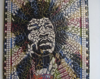 Jimi Hendrix mosaic handcrafted picture art design artist