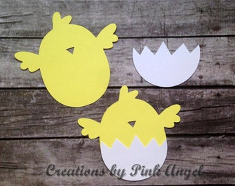 Supplies for 12 Chick Decorations, Chick Die Cuts, Baby Shower Chick Cut Outs, Birthday Chick Paper Cutouts, ASSEMBLY REQUIRED