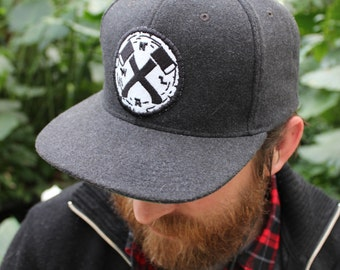 Northwoods Axe & Leather - Dark or Light Grey Wool Snapback Cap - flat brim, high crown, logo patch - NWAL#017