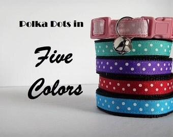 Polka Dot Cat Collar - Kitten Collar - Breakaway Cat Collar -Female Cat Collar- Girl Cat Collar - Boy Cat Collar with Removable Bell