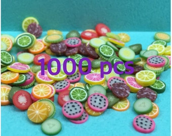 Polymer Clay Cane Mix Fruit Meat Fimo Cane Slices Mix Mini Fruit Meat Sweets Deco Kwaii Nail Art Decor (1000 pcs by random)