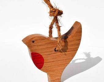Small Handcrafted Oak Robin