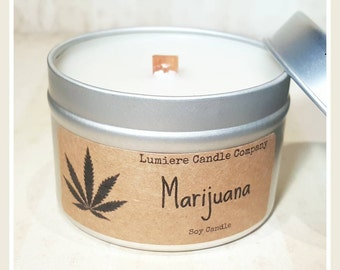 MARIJUANA / WEED / Ganja / Cannabis scented Soy Candle Tin, Scented Soy Candles, Hand Poured Soy Candles, Soy Candles Handmade, Tin
