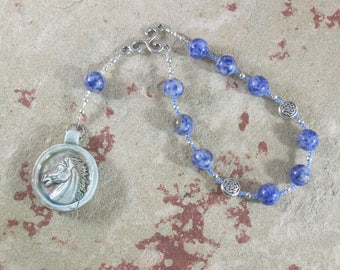 Epona Pocket Prayer Beads in Sodalite: Gaulish Celtic Goddess of the Horse