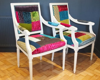 Painted Patchwork Carver Chairs Designers Guild Fabric Arm Chairs Elbow Chairs Free delivery