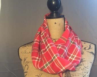 Red plaid infinity scarf, plaid scarf, red scarf, plaid infinity scarf, fall accessory, light scarf, Red and Green Scarf