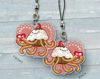 Cupcake Jellyfish - Acrylic Phone Charm / Keychain / Necklace