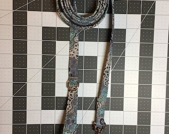 Grey, Purple, Teal Flower Print Dog Leash