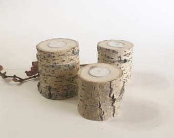 3 Cottonwood Tea Light Holders, Wedding Centerpieces, Rustic Wedding Decor, Rustic Wood Candle Holders, Bridal Shower/House Warming Gift.
