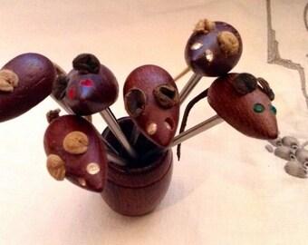 Hors D'Oeuvres Picks, Stainless Steel Picks, Jeweled Eyes, Six Teak Wood Mice in Barrel, Retro, MCM, Made in Denmark, Estate, Vintage 1960s